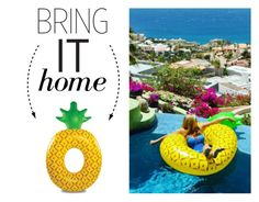 """""""Bring It Home: Pineapple Pool Float"""" by polyvore-editorial ❤ liked on Polyvore featuring interior, interiors, interior design, home, home decor, interior decorating and bringithome"""