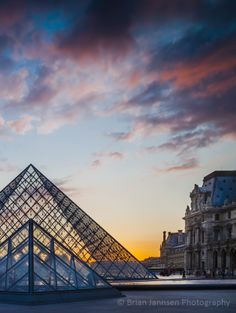 Courtyard of Musee du Louvre at sunset, Paris France. © Brian Jannsen Photography