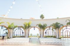 beautiful ceremony set up at The Fess Parker Plaza - - Jessica Fairchild Photography
