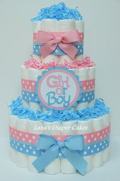 Pink & Blue Boy Or Girl Diaper Cake Baby Shower Centerpiece by LanasDiaperCakeShop on Etsy https://www.etsy.com/listing/245741781/pink-blue-boy-or-girl-diaper-cake-baby