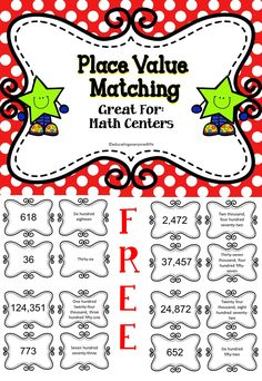 FREE Place Value Matching Game - A great activity for math centers or to use in the math classroom. #tpt #education #math