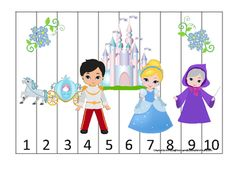 Cinderella themed Number Sequence Puzzle preschool learning game. Homeschool early math activity. |