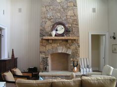 Architecture, Fire Place Brick Random Colorful Stone Wall Cast Mantels Chimney Brown Sofa Pillow White Door Wooden Cabinets Fireless Interior Decorating Inspiration Decorator Design: Outstanding, 30 Stone Fireplace Ideas for a Cozy, Nature-Inspired Home Stone Fireplace Designs, Fireplace Kits, Stacked Stone Fireplaces, Cozy Fireplace, Living Room With Fireplace, Fireplace Stone, Corner Fireplaces, Stone Mantel, Modern Interiors