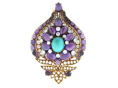 Bvlgari Brooch with Turquoise, Amethyst and Diamonds in 18K- Beladora Antique and Estate Jewelry
