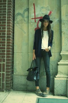 Relaxed, casual but with style. fedora, white tee and navy blazer with skinnies- must have