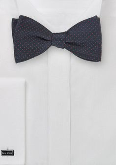 Micro Dot Bow Tie in Navy and Coral