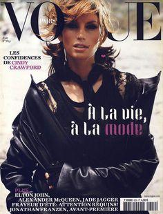 PARIS VOGUE - AUGUST 2002 COVER MODEL - CINDY CRAWFORD
