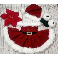 12 Month old Christmas Baby Dress Santa Hat & Santa Boots Crochet Baby Dress Pattern, Baby Dress Patterns, Baby Clothes Patterns, Cloth Patterns, Santa Dress, Crochet Santa, Yarn Bee, Santa Boots, Santa Hat