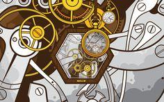 абстракции, векторные рисунки, часы, часовой, техника, JThree понятия - Просмотреть, изменить размер и скачать HD обои / oboi7.com