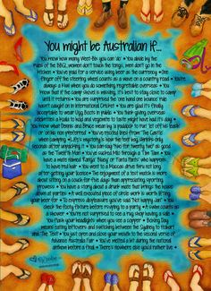 Vibrant Watercolour Poster with humourous text about being Australian
