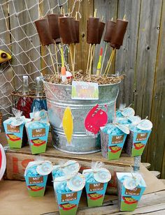"""A Reel Fun """"Gone Fishing"""" Birthday Party // Hostess with the Mostess® Joint Birthday Parties, Birthday Party Decorations, Birthday Ideas, Kid Parties, Theme Parties, Gone Fishing Party, Fishing Wedding, Lake Party, Thing 1"""