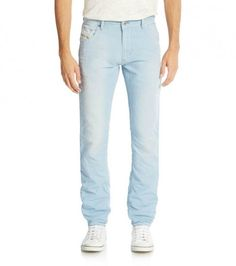 Add a casual look to your fine wardrobe with this light blue krayver #jeans crafted in cotton & linen by #Diesel #collection, featuring a slim fit, three button fly, five pocket style, logo patch detail on back waistband and signature stitching on back pockets.