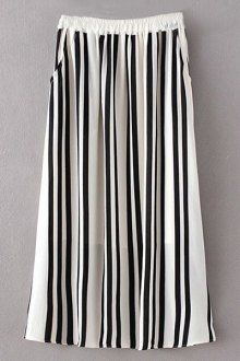Stripe High Waist A Line Skirt WHITE AND BLACK: Skirts | ZAFUL