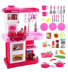 deAO Toddler Kitchen Playset Little Chef With 30 Accessories Role Playing Game Bed For Girls Room, Toys For Girls, Kids Toys, Children's Toys, Kids Play Kitchen, Toy Kitchen, Kitchen Utensils, 5 Minute Crafts Videos, Craft Videos