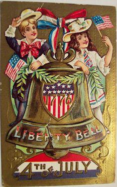 Illustrated color postcard celebrating the American holiday, the. Patriotic Images, Patriotic Crafts, Patriotic Decorations, Patriotic Posters, Americana Crafts, Happy 4 Of July, Vintage Postcards, Vintage Cards, Vintage Ephemera