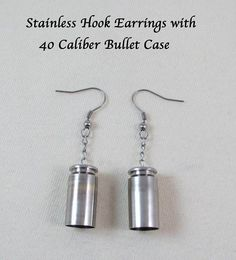 Stainless Hook Bullet Earring Jewelry - 40 Caliber Brass with Nickel Finish - Primer Removed - Stainless Chain & Findings - Gift Idea