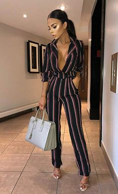 c3e9413e3310 Only  18 PRETTYGARDEN Women s Sexy V Neck Striped Long Sleeve Wide Leg Jumpsuit  Romper with Pockets