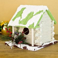 Rustic Snowy Cabin Birdhouse -- Add textured snow touch to a wintry birdhouse.  #decoartprojects
