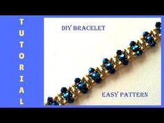 How to make beaded elegant bracelet. DIY easy pattern - YouTube