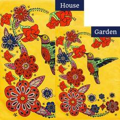 Hummingbird Hibiscus Burlap Flags Set (2 Pieces)