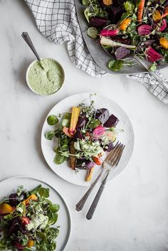Roasted Beet Salad with Chevre Green Goddess Dressing | The Modern Proper