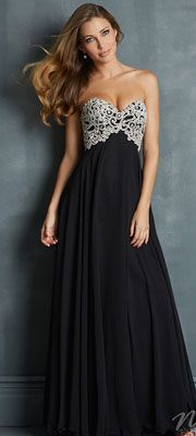 Night Moves by Allure 2014 Prom Dresses - Black Chiffon & Embroidered Jeweled Bodice Prom Dress