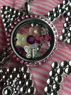 South HIll Designs pink locket with butterfly, crystals and new flower charms! shdcharmed@yahoo.com