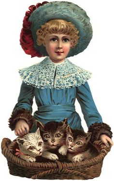 Kinder mit Katzen - Kids with cats - Les enfants avec des chats Vintage Ephemera, Vintage Cards, Vintage Postcards, Vintage Images, Etiquette Vintage, Fine Art Prints, Canvas Prints, Here Kitty Kitty, Vintage Easter