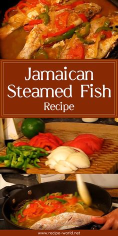 Jamaican Steamed Fish Recipe Video Steamed fish is done differently in every cuisine. This dish is very simple, and adds Jamaican flavor to your fish. Fish Recipes Jamaican, Whole Fish Recipes, Jamaican Cuisine, Jamaican Dishes, Jamaican Steam Fish Recipe, Jerk Fish Recipe, Steam Whole Fish Recipe, Authentic Jamaican Cabbage Recipe, Gastronomia