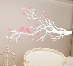 Bird Famiy on a Tree Branch Vinyl Decal - Childrens Decor or Nursery Vinyl Wall Art