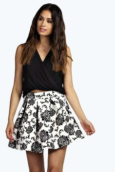 7835a10a93b Verity Flocked Floral Skater Skirt alternative image