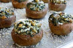 Yummy meatless stuffed mushrooms make a great appetizer! - CherylStyle