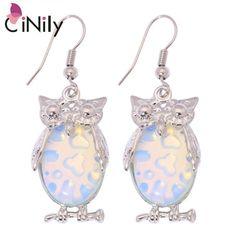 Moonstone Lovely Colorful Owl Earrings