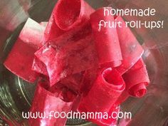 Food Mamma: homemade fruit roll-ups Fruit Roll Ups, Snack Recipes, Snacks, Watermelon, Icing, Lunch Box, Appetizers, Homemade, Eat