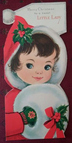Gibson card, adorable little girl, embossed/raised, measures about 8 by From smoke free home. Christmas Card Images, Merry Christmas Banner, Vintage Christmas Cards, Retro Christmas, Vintage Holiday, Christmas Greeting Cards, Christmas Greetings, Holiday Cards, Christmas Ornaments