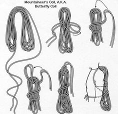 Butterfly Coil for Climbing Rope - can do the first step over my shoulders Mais Survival Knots, Survival Gear, Survival Skills, Survival Prepping, Bushcraft, Knots Guide, Rope Knots, Climbing Rope, Rappelling