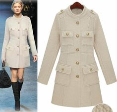 Morpheus Boutique - Off White Long Sleeve Trench Button Down Celebrity Coat,