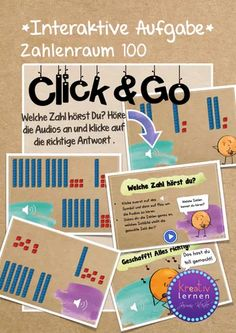 Click & Go | Zahlen im ZR 100 richtig hören German, Whiteboard, Right Guy, Mathematics, Primary School, Languages, Deutsch, Erase Board