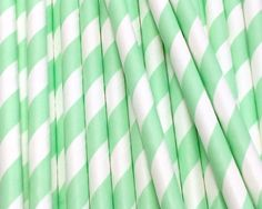 25 Mint Green Stripe Paper Straws - Drinking Straw - Party Supplies by CharmiosCraftParty on Etsy https://www.etsy.com/listing/110718797/25-mint-green-stripe-paper-straws