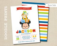 Tsum Tsum Mickey Birthday Party Invitation - Disney Tsum Tsum Inspired Invitation - Customized Printable Invitation Party - size 5x7 or 4x6""