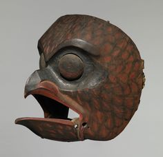 OWL MASK, Tsimshian, Northern British Columbia - ca. - wood, black and red, vermillion pigment Native American Masks, Native American Headdress, American Indians, Art Inuit, Raven Mask, Owl Mask, Haida Art, Art Premier, Masks Art