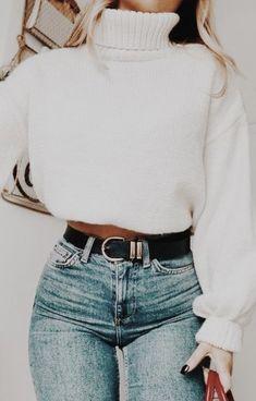 crop turtlenecks + jeans | #womensfashion