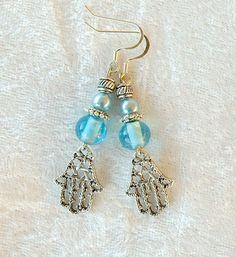 Hamsa Earrings with Blue Beads by DesertKippot on Etsy, $12.00