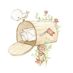 Ilustración de buzón con flores y pajarito Baby Illustration, Watercolor Illustration, Illustrations, Watercolor Kit, Watercolor Paintings, Bird Art, Cute Drawings, Doodle Art, Cute Art