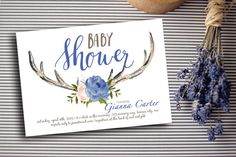 Antler Blue Boy Baby Shower Invitation Digital Download, Woodland Theme, Oh Deer Party Invite Printable, Rustic Couples Coed Shower, Tribal