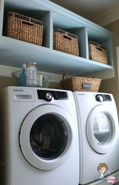 organized cottage style laundry room and mudroom renovation, closet, home decor, laundry rooms, storage ideas, My washer and dryer sit on a beadboard clad pedestal with room underneath for three laundry baskets And there s more storage up top