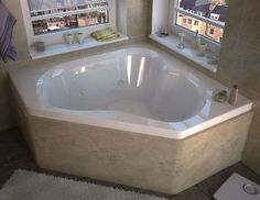 "Tobago 59.25"" x 59.25"" Corner Whirlpool Jetted Bathtub with Center Drain"
