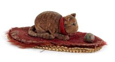 """Two felt pen wipes, 19th c., to include a cat with ball and hand, 3 1/4"""" l. and 5 1/2"""" l. $830"""