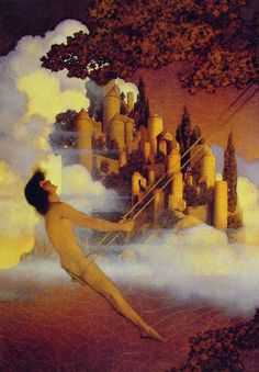 The Dinkey­Bird by Maxfield Parrish, Oil on paper
