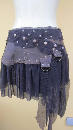 BURNING MAN inspired bohemian chocolate leather mini skirt belt/tutu with stud detail